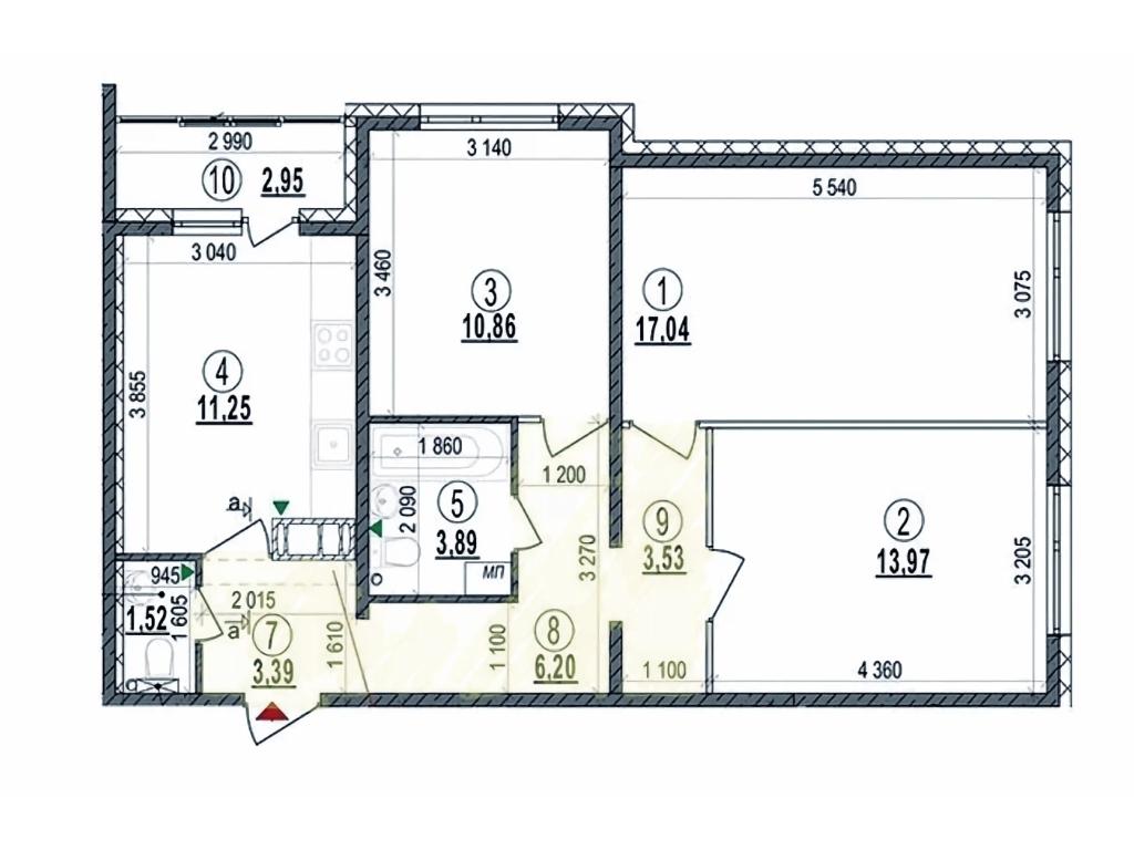 Площа коридору більше 10 кв.м